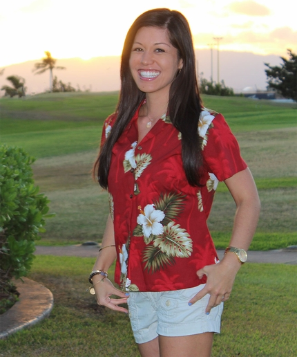 Kilauea Red Fitted Women's Hawaiian Shirt
