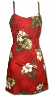Kilauea Red Short Spaghetti Dress