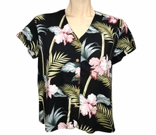 Ladies Bamboo Orchid Black V-Neck Shirt