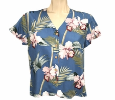 Ladies Bamboo Orchid Blue V-Neck Shirt