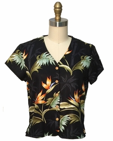 Ladies Bamboo Paradise Black V-Neck Blouse