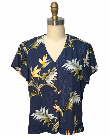 Ladies Bamboo Paradise Navy V-Neck Blouse
