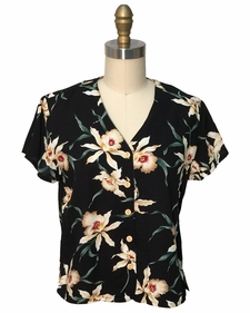 Ladies Magnum Orchid Black V-Neck Blouse
