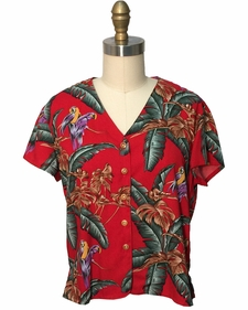 Ladies Magnum PI Red V-Neck Blouse