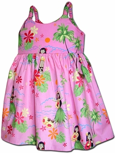 Little Hula Girl Pink Bungee Dress