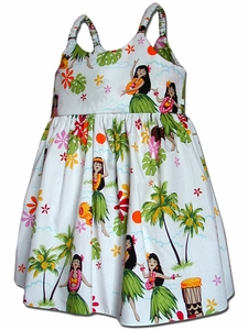 Little Hula Girl White Bungee Dress