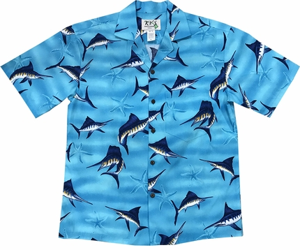 Marvelous Marlin Blue Hawaiian Shirt