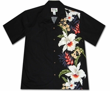 Mega Orchid Black Hawaiian Shirt