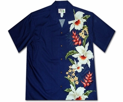 Mega Orchid Navy Hawaiian Shirt