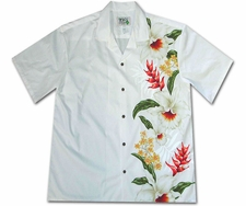 Mega Orchid White Hawaiian Shirt