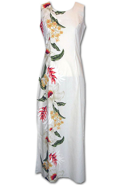 Giant Orchid White Long Tank Hawaiian Dress