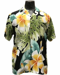 Mega Plumeria Black Hawaiian Shirt
