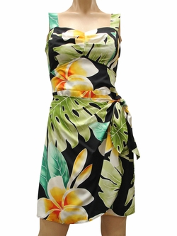Mega Plumeria Black Sarong Dress
