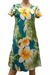 Mega Plumeria Blue A-Line Dress with Cap Sleeves