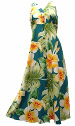 Mega Plumeria Blue Button Front Tank Dress