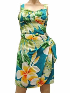 Mega Plumeria Blue Sarong Dress