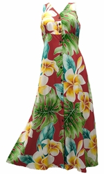 Mega Plumeria Red Button Front Tank Dress