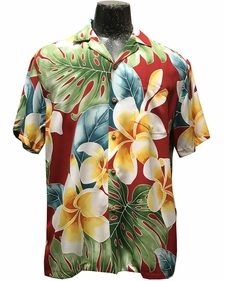 Mega Plumeria Red Hawaiian Shirt