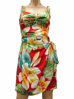 Mega Plumeria Red Sarong Dress