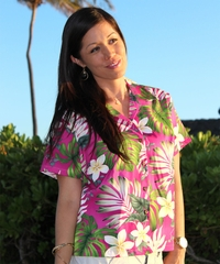Ms Monstera Pink Fitted Women's Hawaiian Shirt