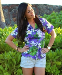 Ms Monstera Purple Fitted Women's Hawaiian Shirt