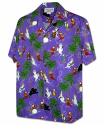 Musical Parrots Purple Hawaiian Shirt