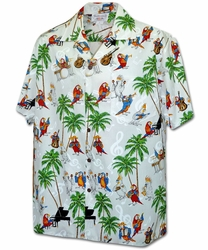 Musical Parrots White Hawaiian Shirt