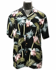 Orchid Bamboo Black Hawaiian Shirt
