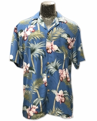 Orchid Bamboo Blue Hawaiian Shirt