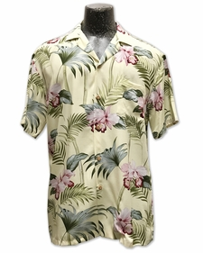 Orchid Bamboo Yellow Hawaiian Shirt
