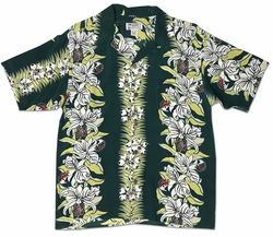 Orchid Panel Green Retro Hawaiian Shirt