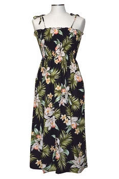 Pacific Orchid Black Mid-Length Tube Dress