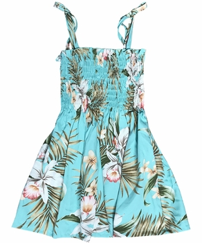 Pacific Orchid Green Girls Hawaiian Dress