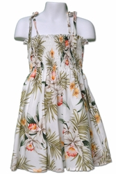Pacific Orchid White Girls Hawaiian Dress