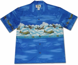 Pacific Wings Blue Hawaiian Shirt