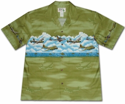 Pacific Wings Green Hawaiian Shirt