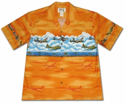 Pacific Wings Orange Hawaiian Shirt