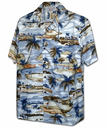 Paradise Golfers Blue Hawaiian Shirt