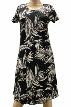Paradise Jungle Black A-Line Dress with Cap Sleeves