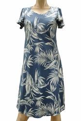 Paradise Jungle Blue A-Line Dress with Cap Sleeves