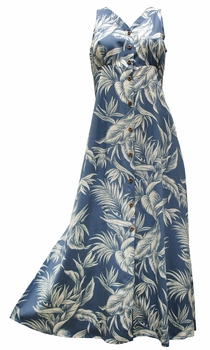 Paradise Jungle Blue Button Front Tank Dress