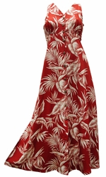 Paradise Jungle Red Button Front Tank Dress