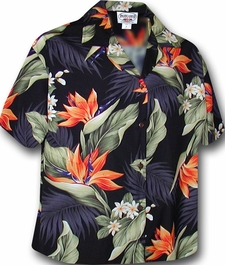 Paradise Valley Black Hawaiian Camp Shirt
