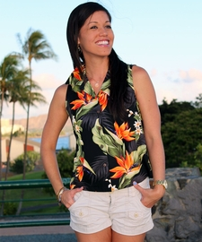 Paradise Valley Black Sleeveless Women's Hawaiian Shirt