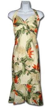 Paradise Valley Cream Hawaiian Halter Dress