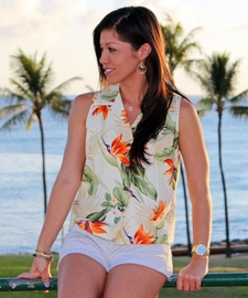 Paradise Valley Cream Sleeveless Women's Hawaiian Shirt