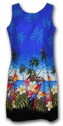 Parrot Island Blue Short Tank Hawaiian Dress