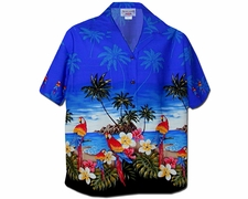 Parrot Island Blue Women's Hawaiian Shirt