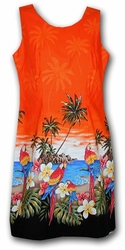 Parrot Island Orange Short Tank Hawaiian Dress