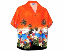 Parrot Island Orange Women's Hawaiian Shirt